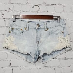 American Eagle Distressed Bleached Lace Shorts